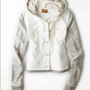 American Eagle White Denim Hooded Jacket Size S